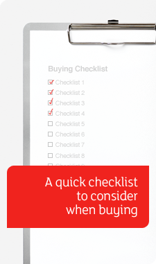 Buying Checklist banner - clipboard with checklist